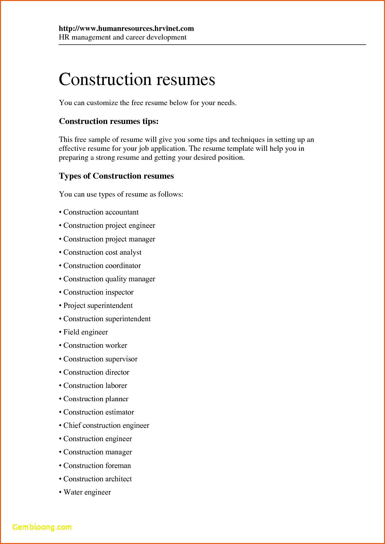 Free Construction Worker Resume Templates
