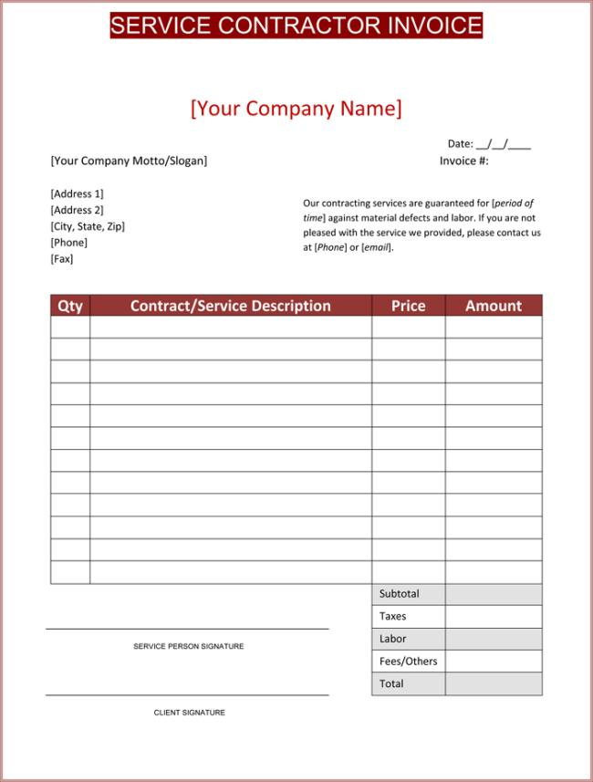 Free Contractor Invoice Template