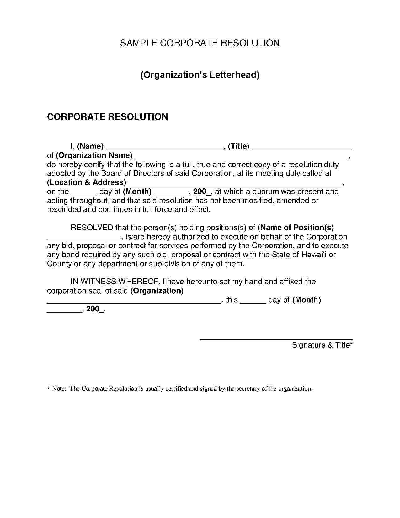 Free Corporate Resolution Template