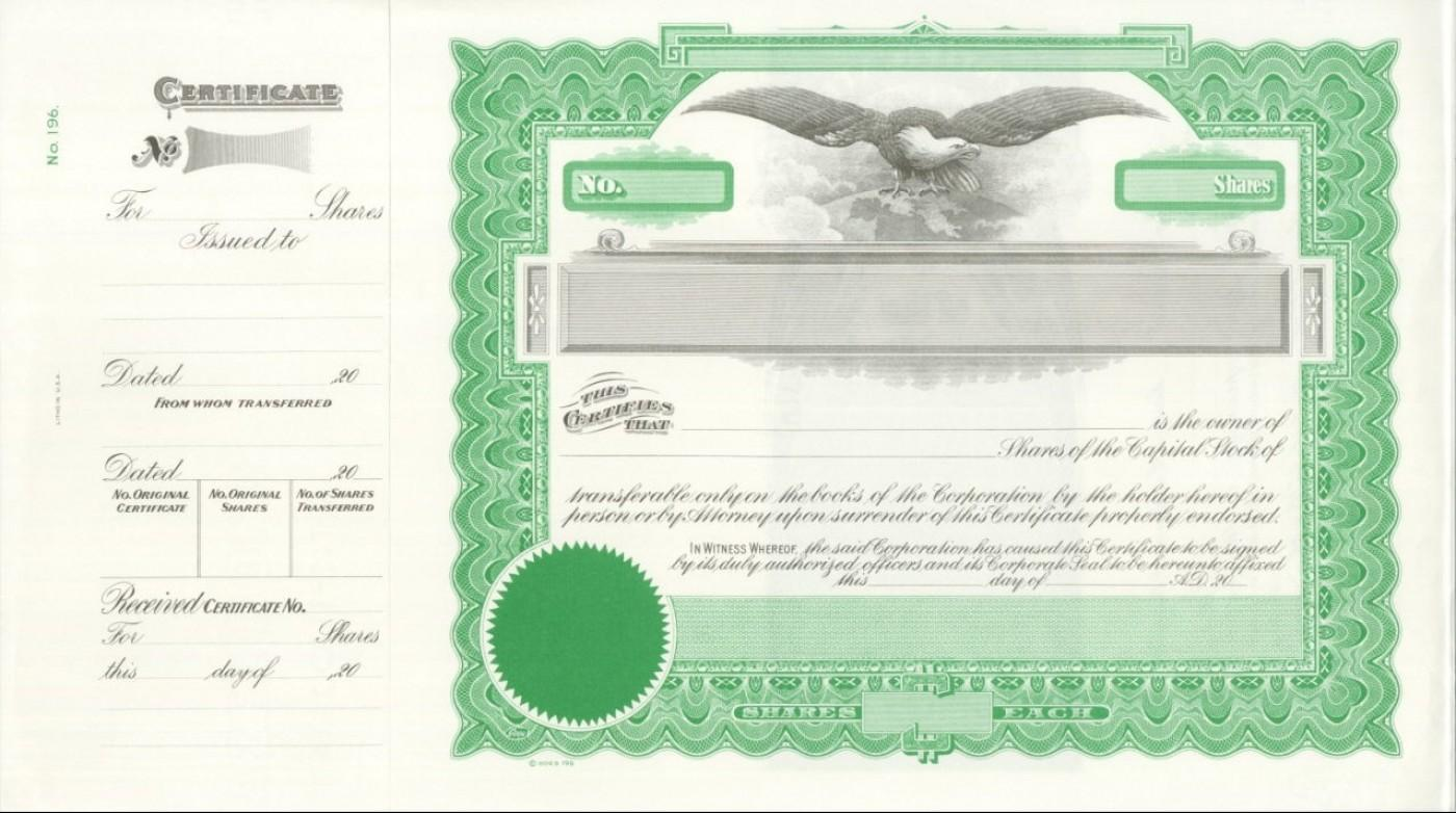 Free Corporate Stock Certificate Template