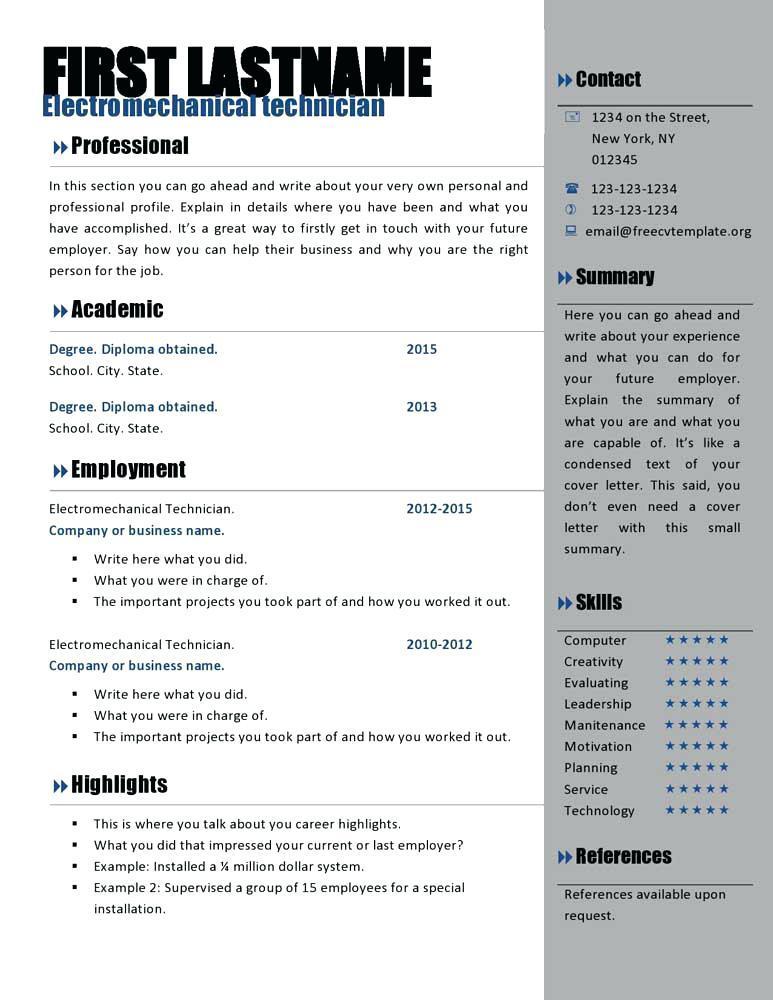 Free Curriculum Vitae Template Microsoft Word