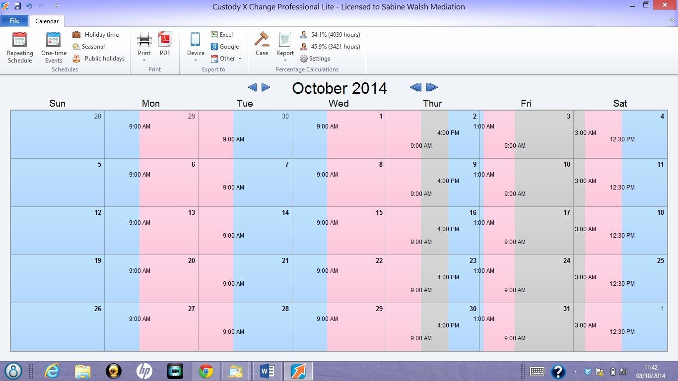 Free Custody Calendar Template