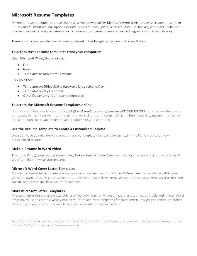 Free Cv Template For Word 2010