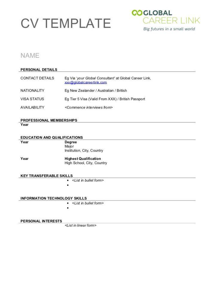 Free Cv Template Printable