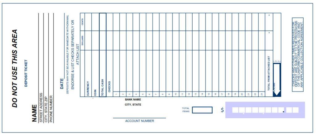 Free Deposit Slip Template Excel