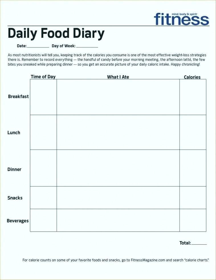 Free Diabetic Food Log Template