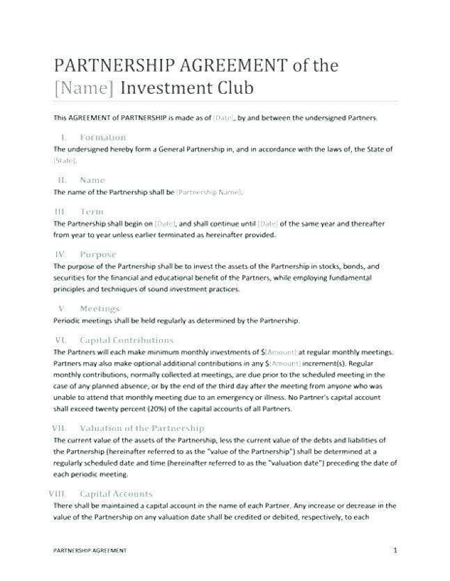 Free Dissolution Of Partnership Agreement Template