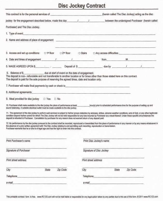Free Dj Contract Agreement Template