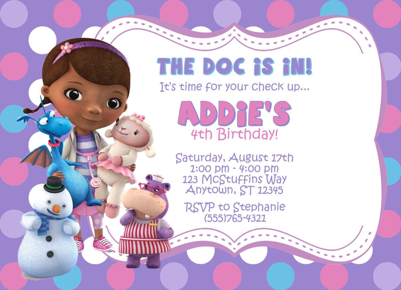 Free Doc Mcstuffins Birthday Invitation Templates