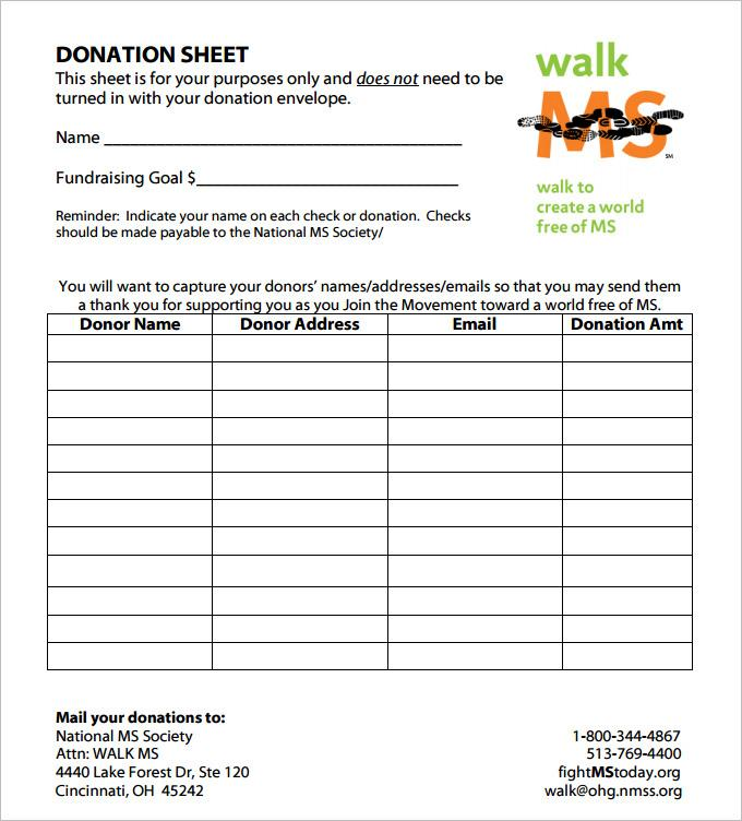 Free Donation Pledge Form Template