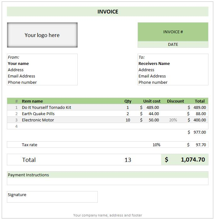 Free Download Invoice Template Excel