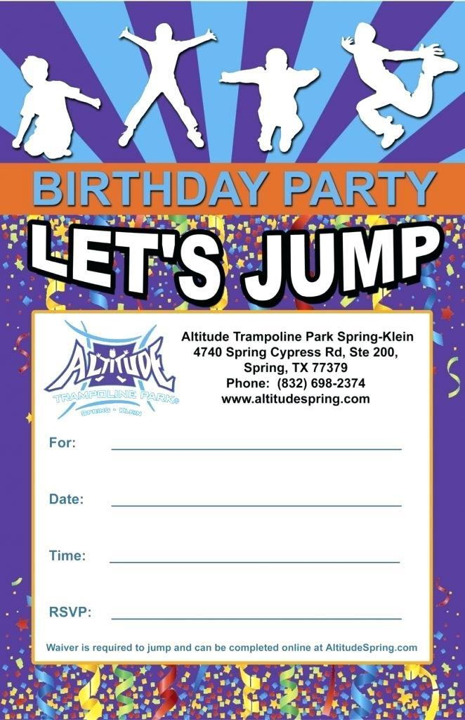 Free Downloadable Trampoline Birthday Invitations