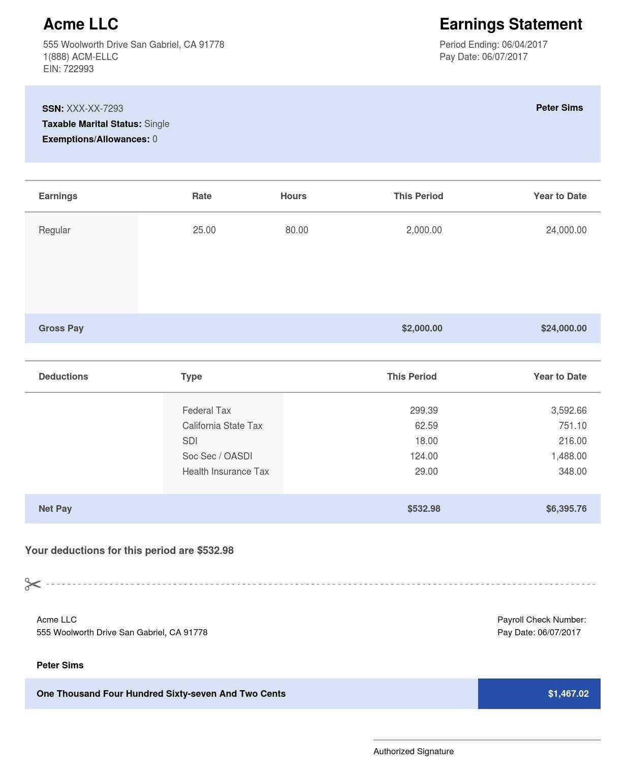 Free Earnings Statement Template Payroll