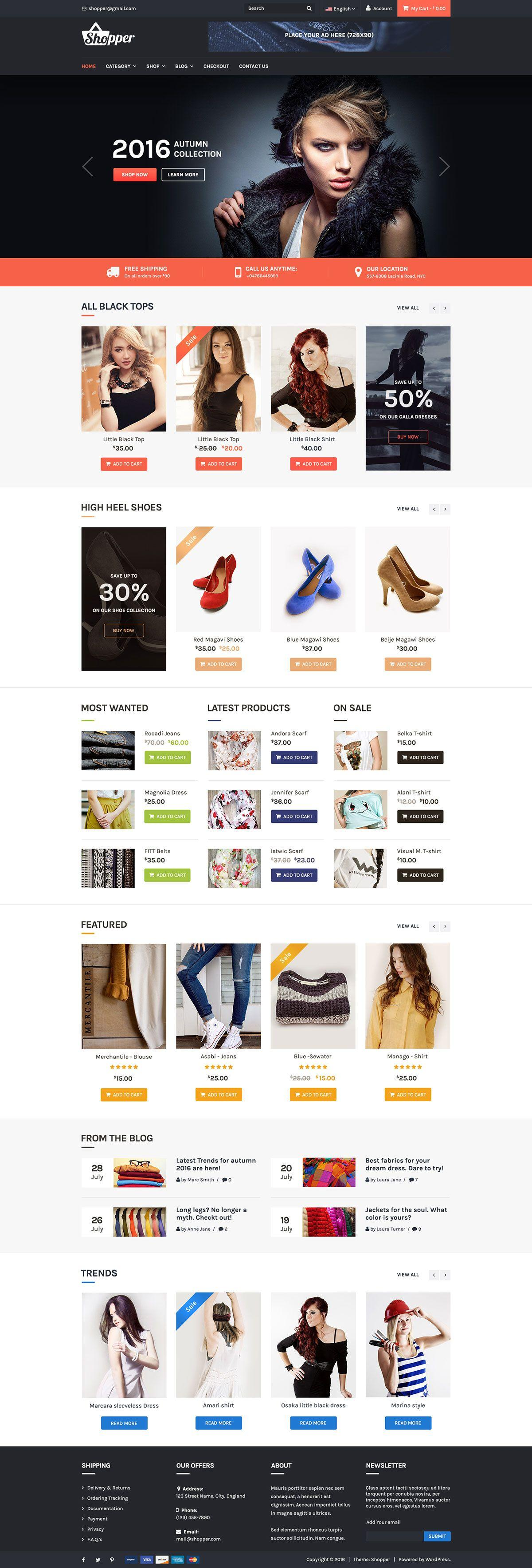 Free Ecommerce Website Template WordPress