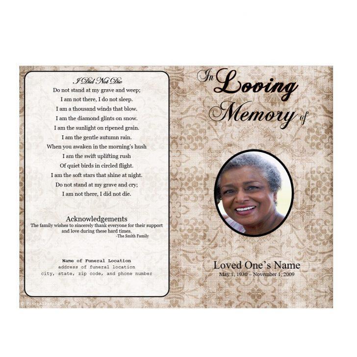 Free Editable Funeral Memorial Program Template
