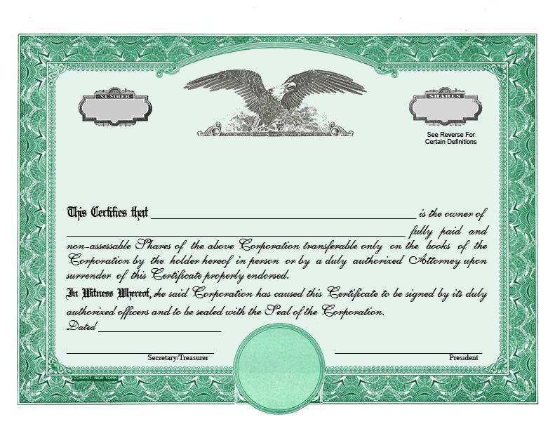 Free Editable Stock Certificate Template
