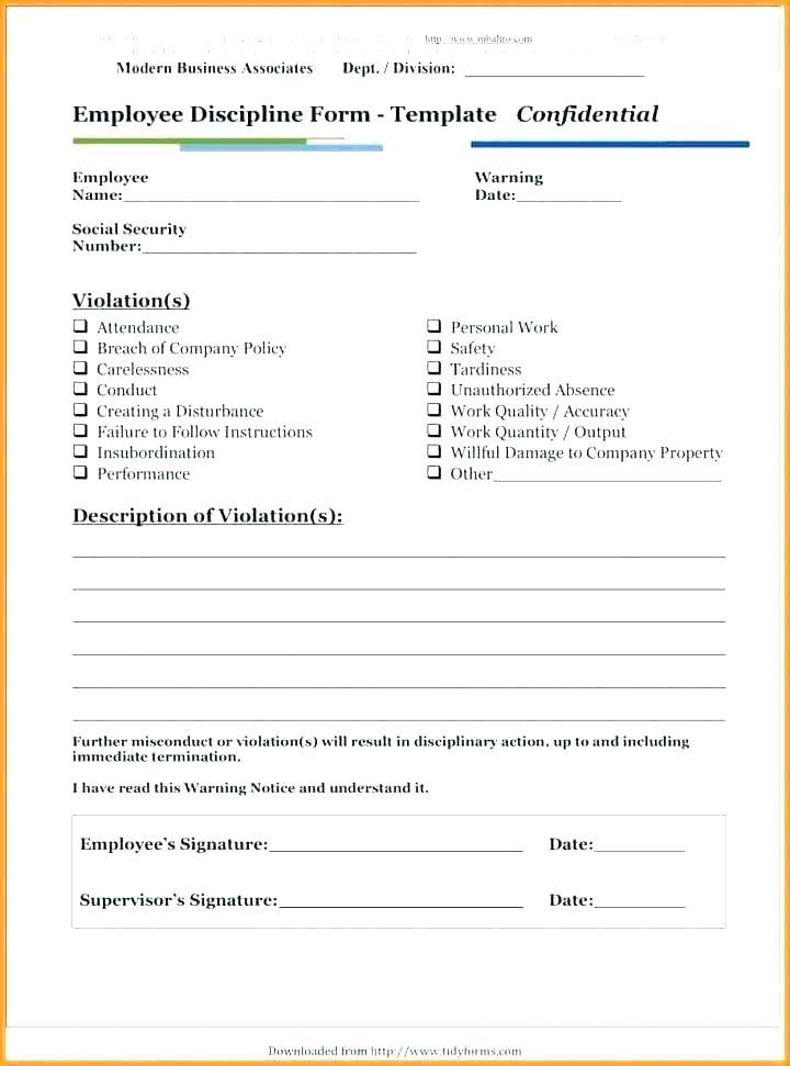Free Employee Disciplinary Write Up Form Template