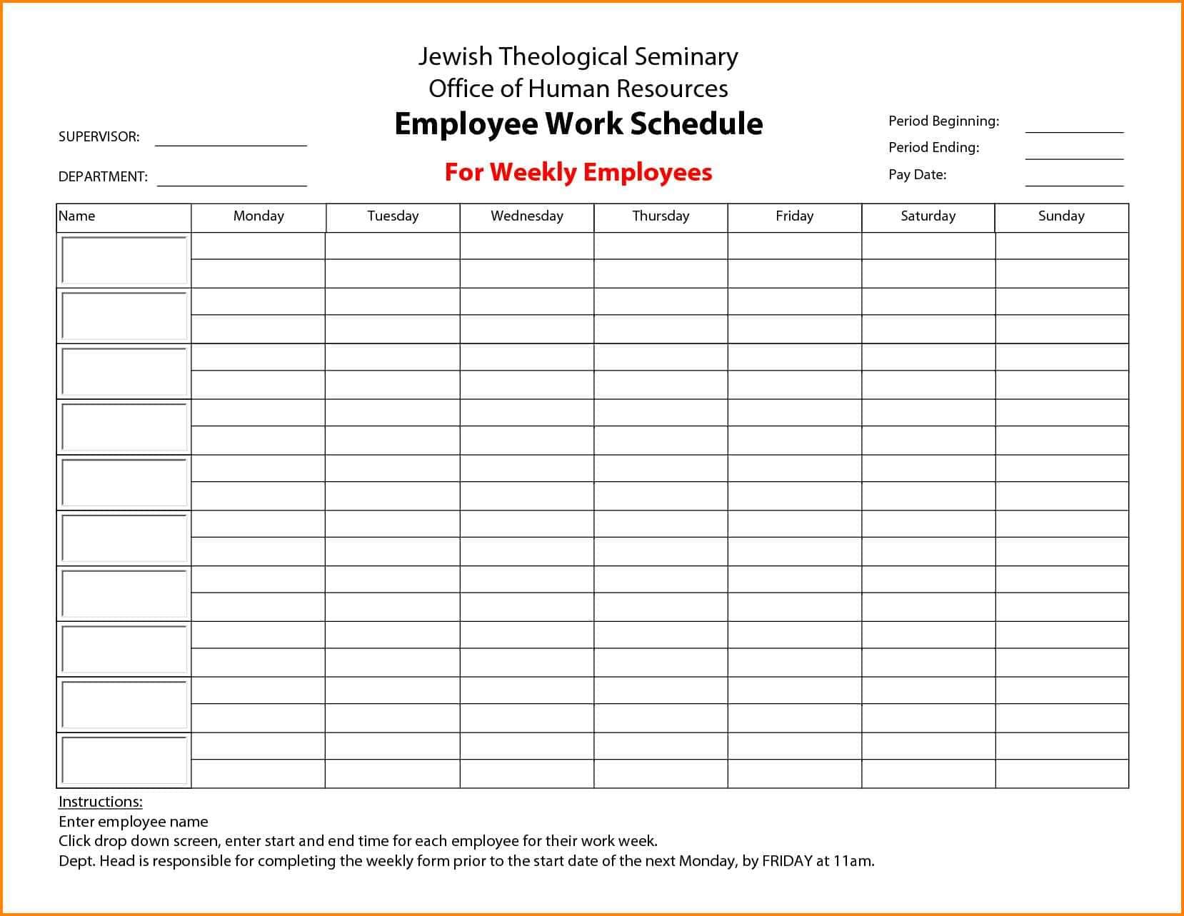 Free Employee Schedule Template Monthly