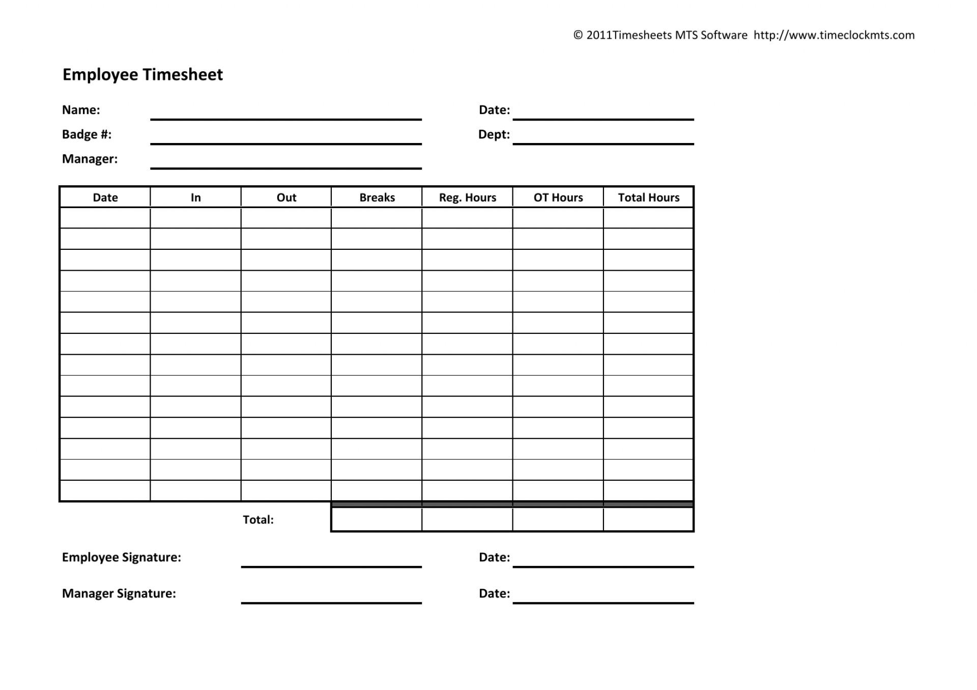 Free Employee Weekly Timesheet Template