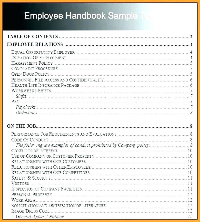 Free Employment Handbook Template