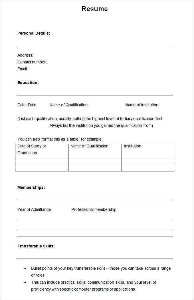 Free Empty Resume Templates