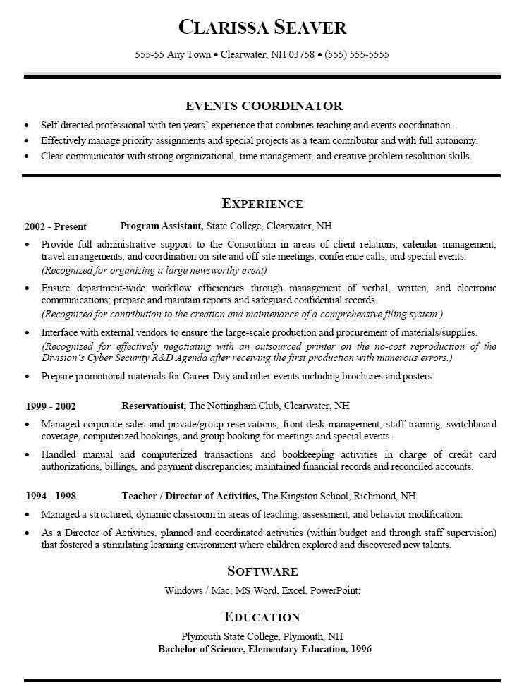 Free Event Planner Resume Templates