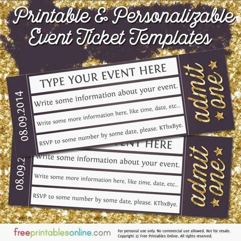 Free Event Ticket Templates