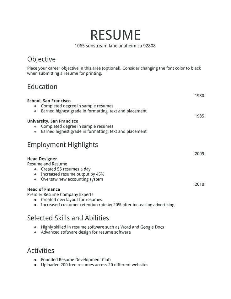 Free Examples Of Resumes Templates