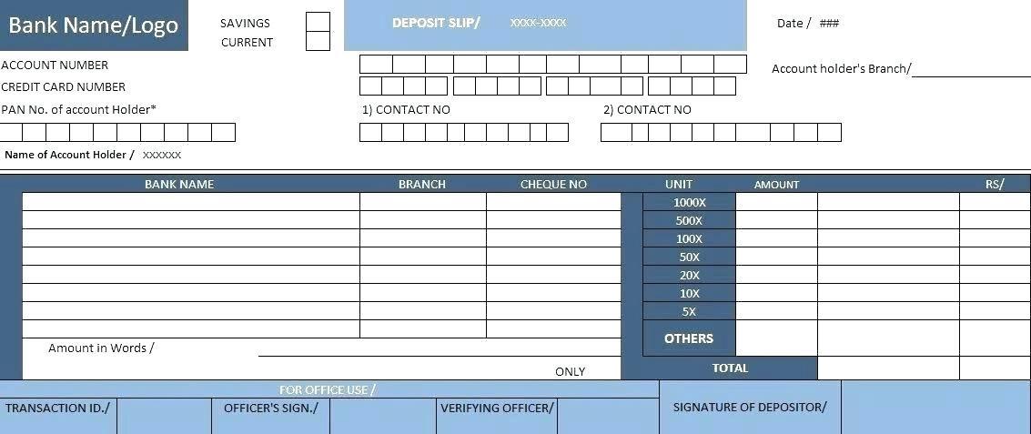 Free Excel Bank Deposit Slip Template