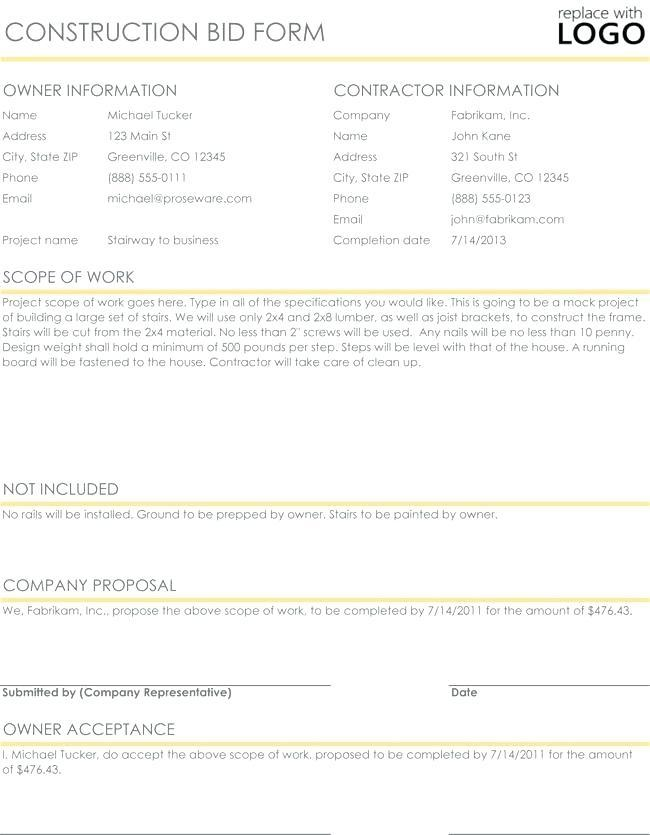 Free Excel Construction Proposal Template