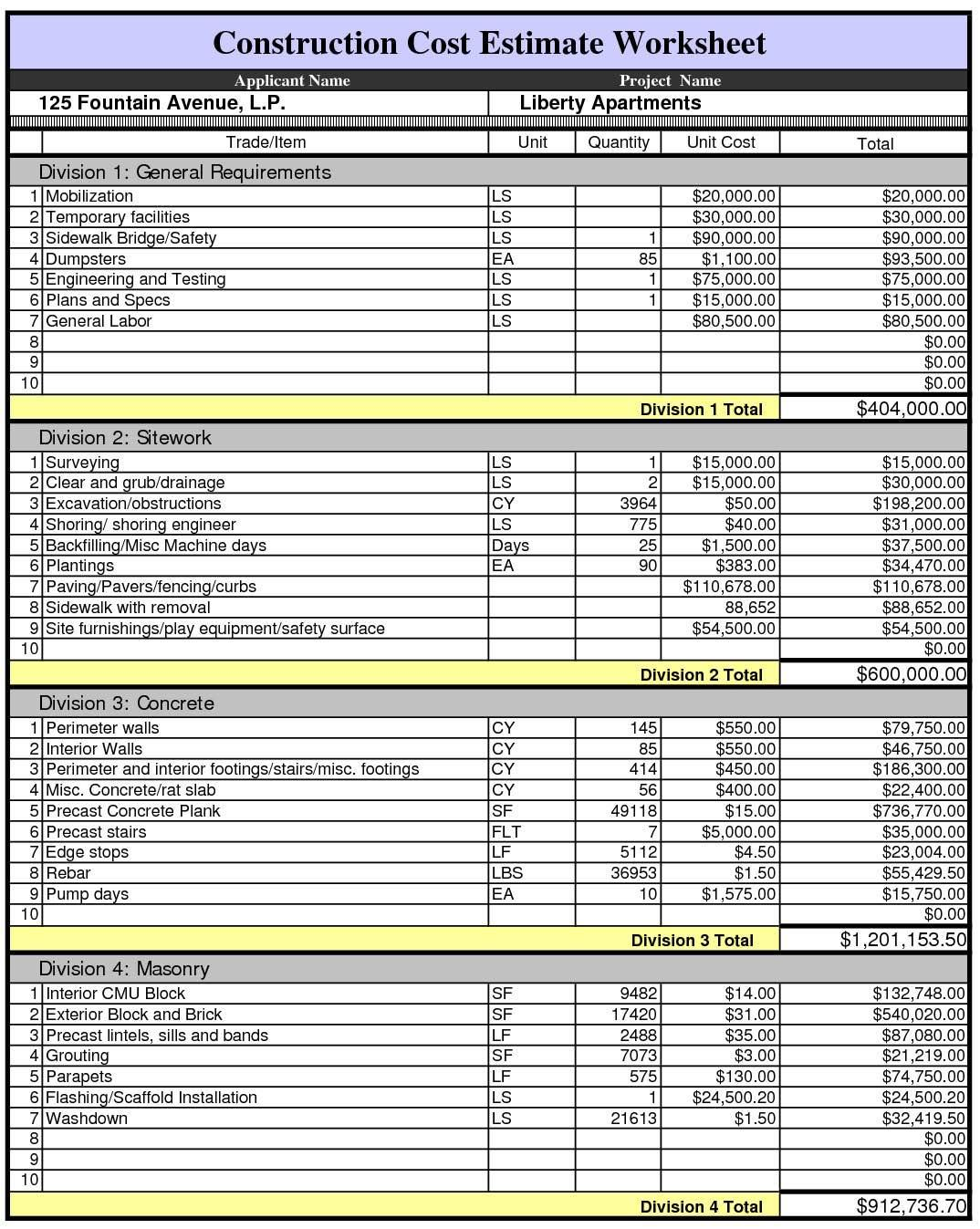 Free Excel Estimating Templates Construction