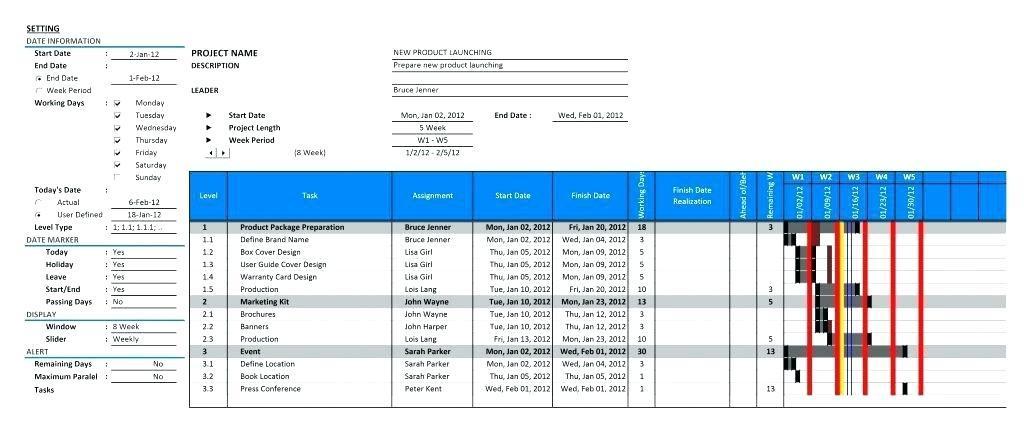 Free Excel Gantt Chart Template 2013