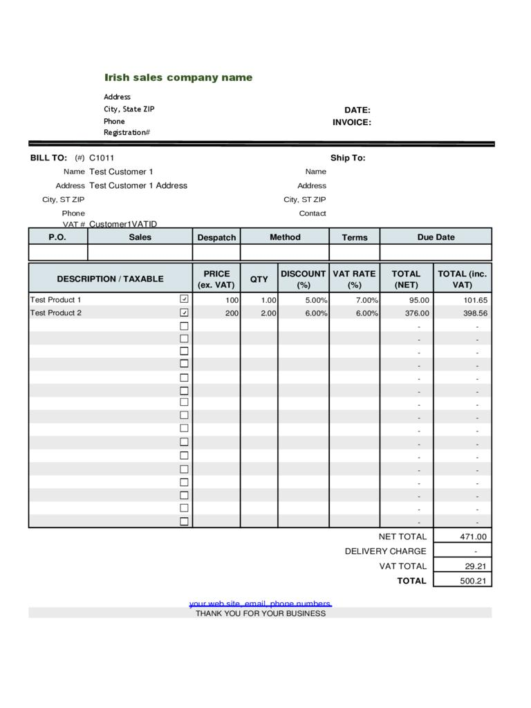 Free Excel Invoice Template Gst