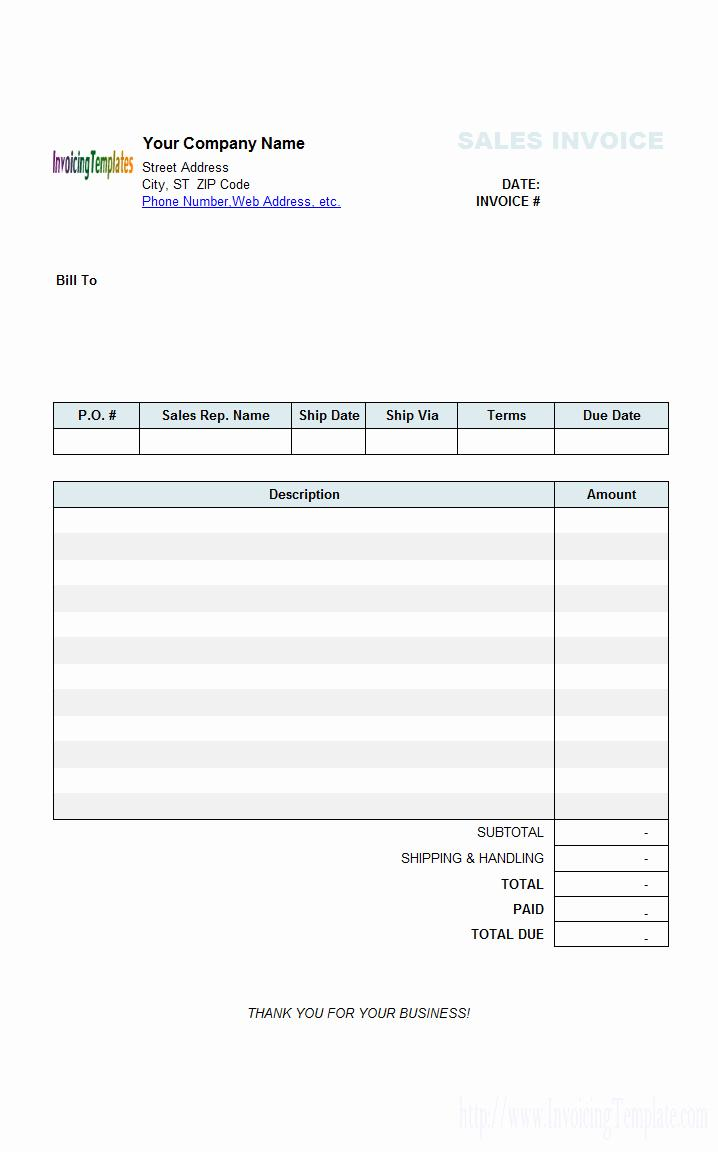 Free Excel Invoice Template Uk