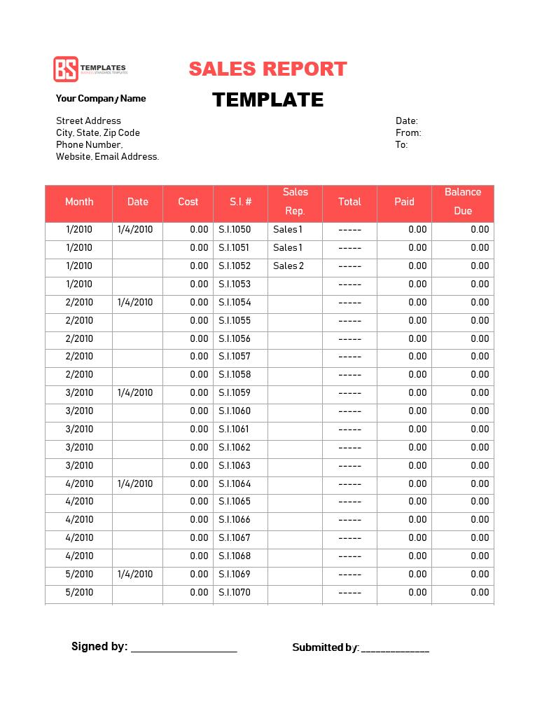 Free Excel Monthly Sales Report Template