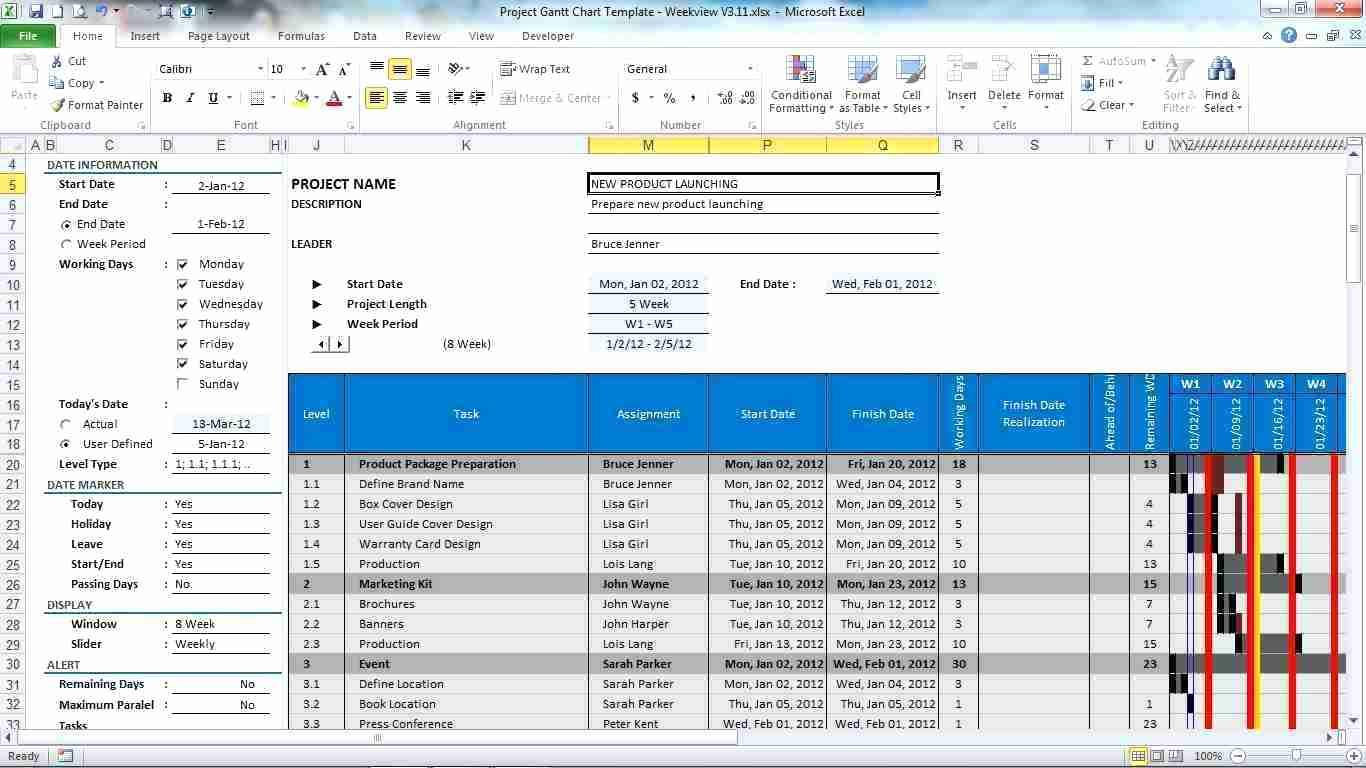 Free Excel Project Gantt Template