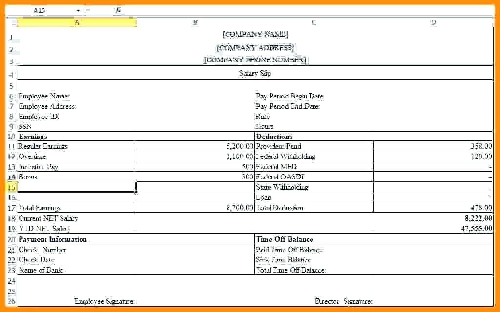 Free Excel Salary Slip Template