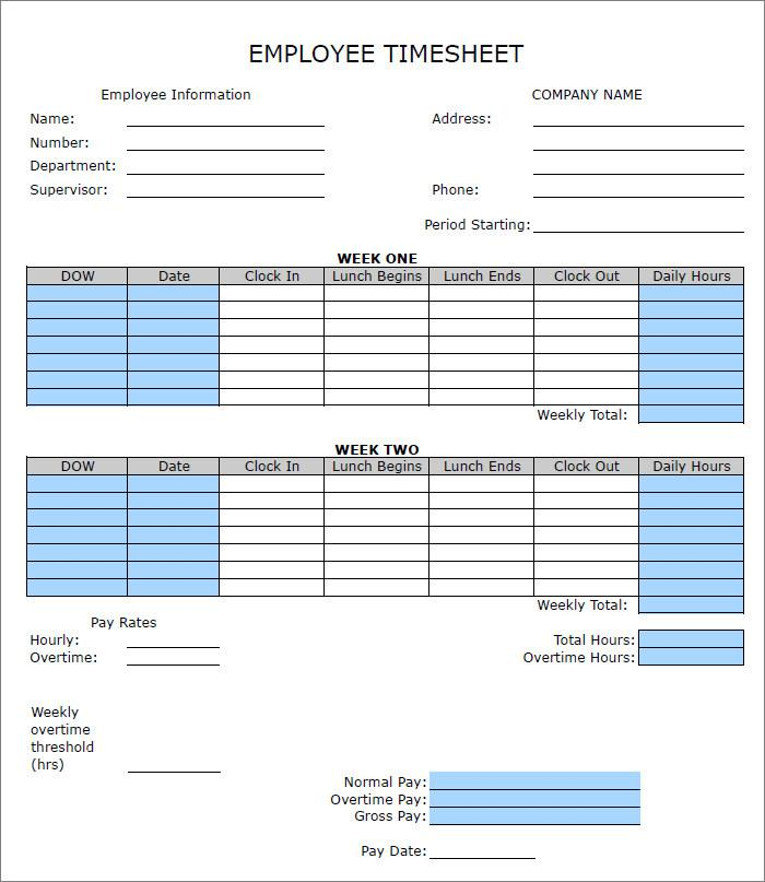 Free Excel Timesheet Templates
