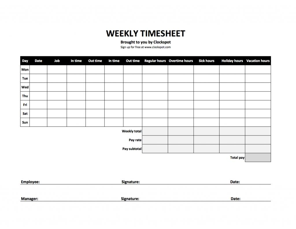 Free Excel Weekly Timesheet Templates