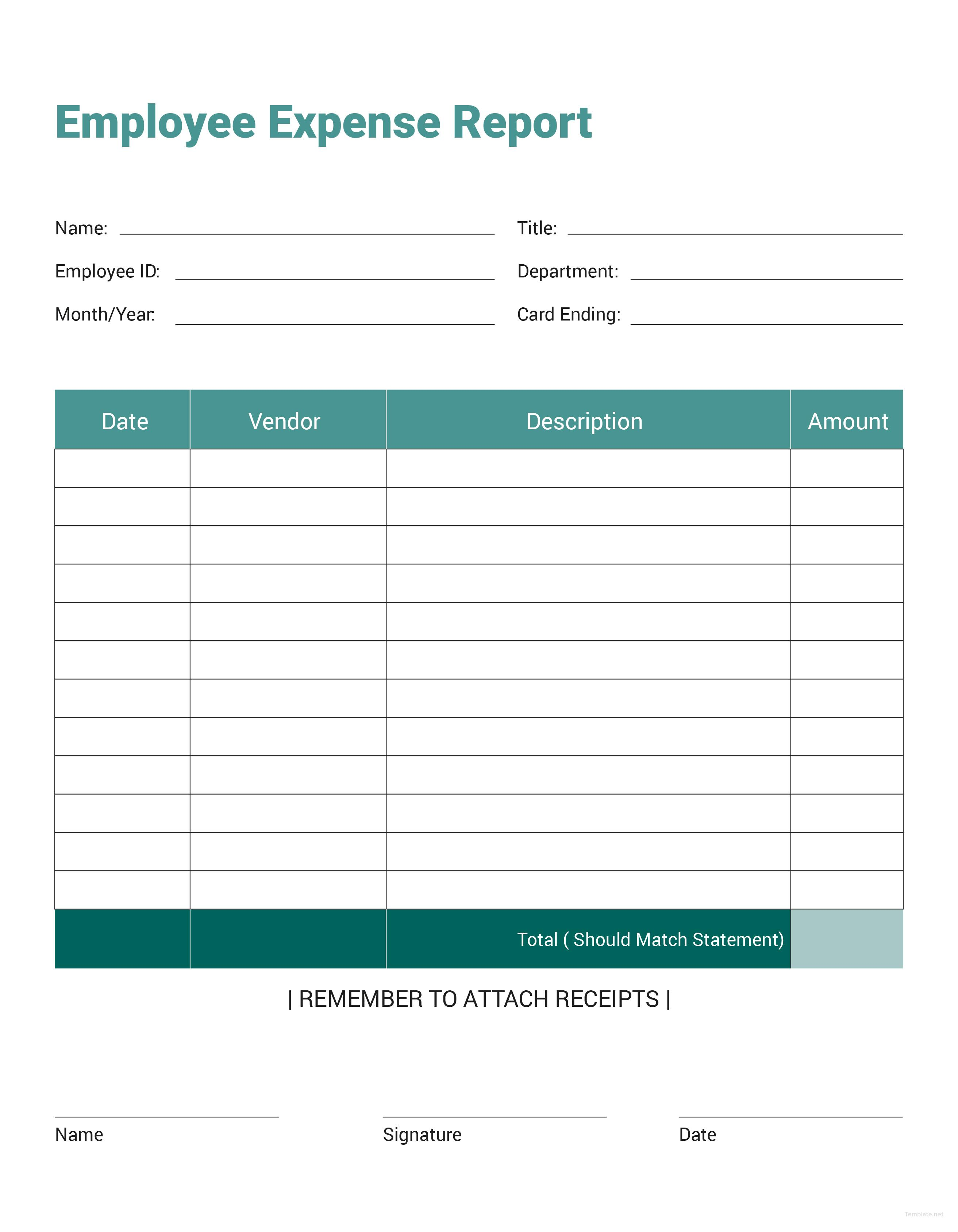 Free Expense Report Template Word