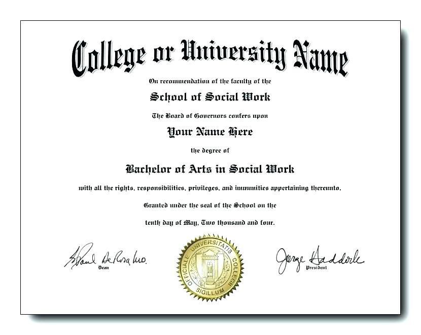 Free Fake College Diploma Template