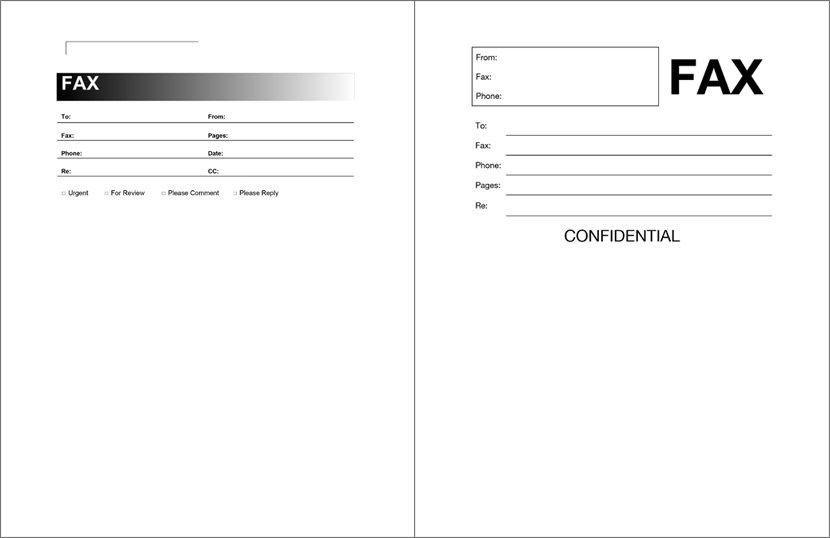 Free Fax Sheet Templates