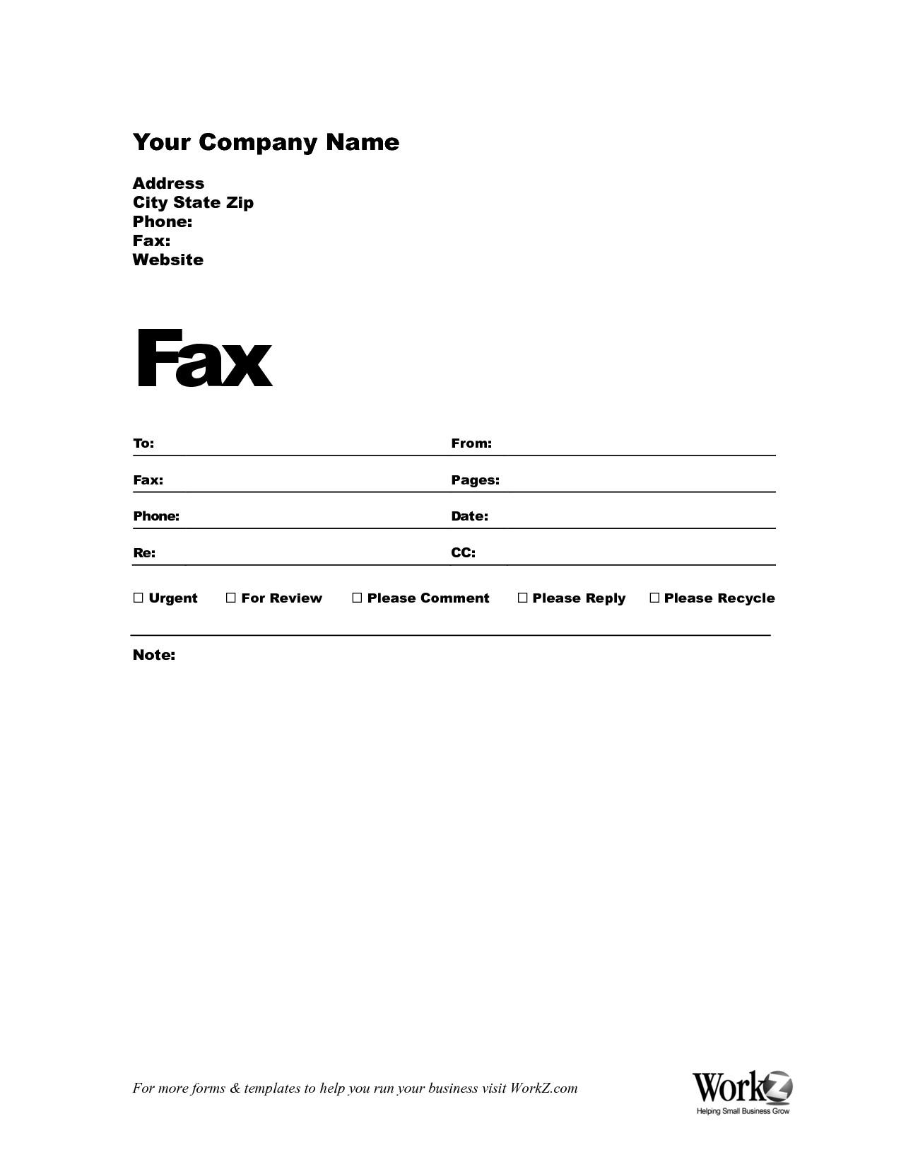 Free Fax Template For Openoffice