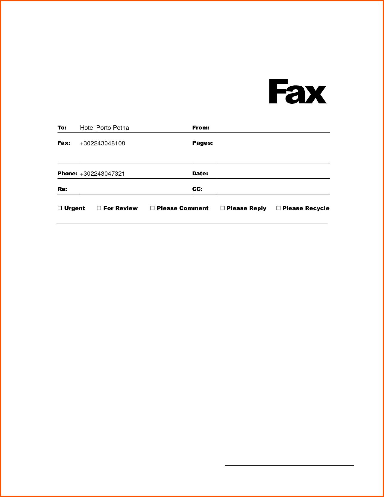 Free Fax Templates For Word