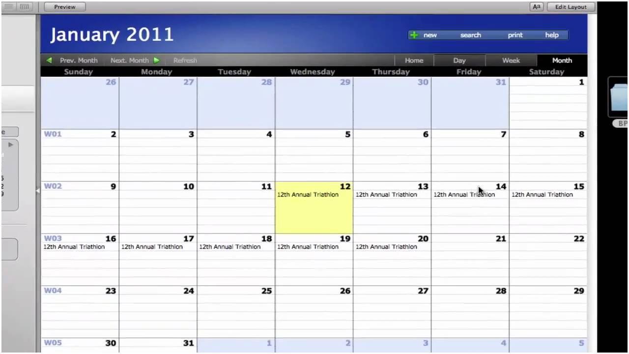 Free Filemaker 12 Calendar Template