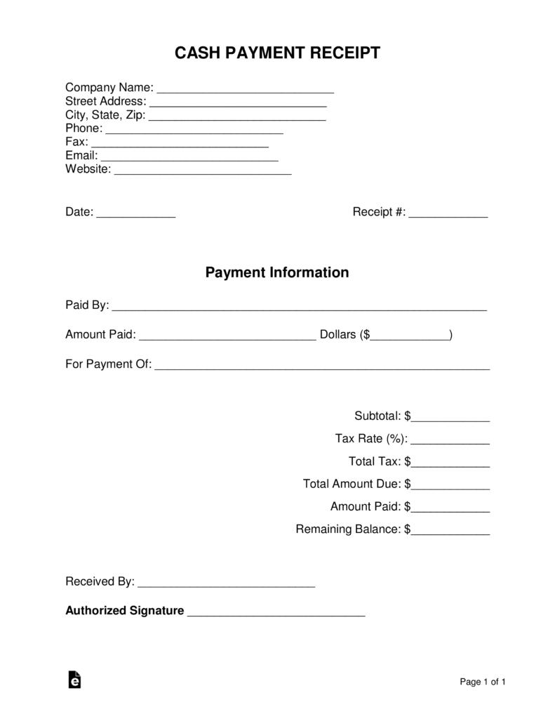 Free Fillable Cash Receipt Template