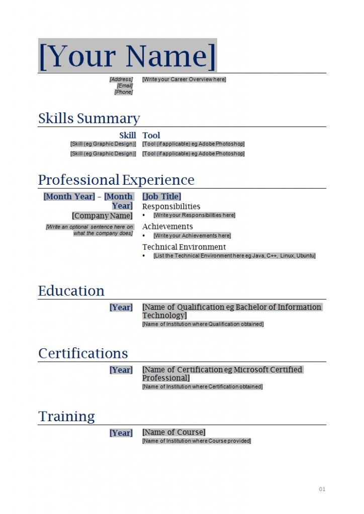 Free Fillable Resume Templates Download