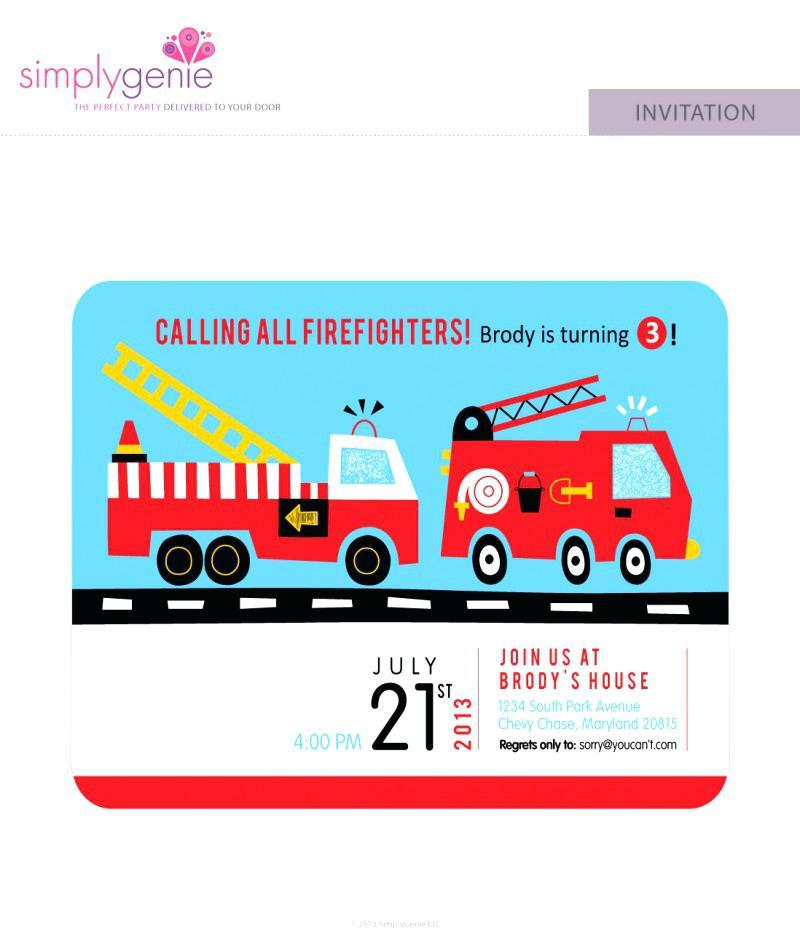 Free Fire Truck Party Invitation Template