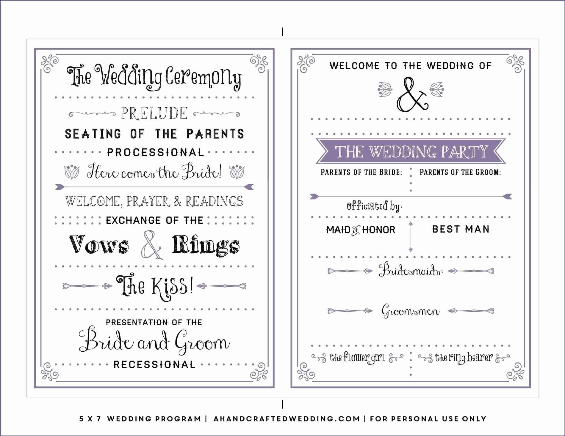 Free Foldable Wedding Program Templates