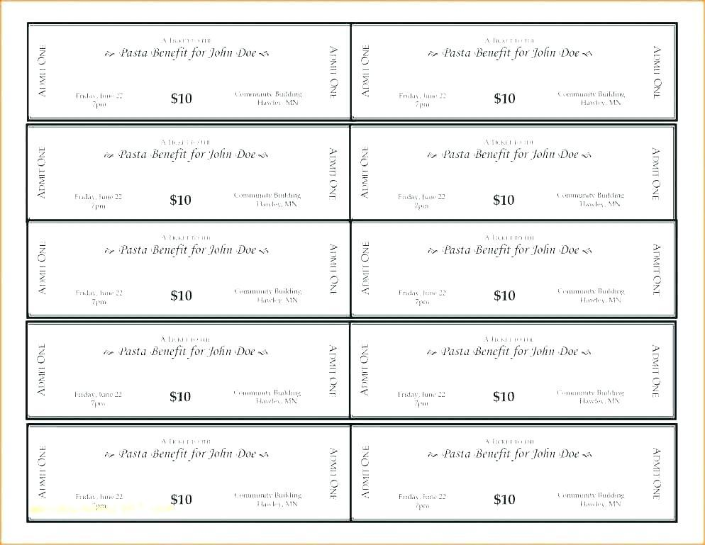 Free Fundraising Dinner Tickets Template